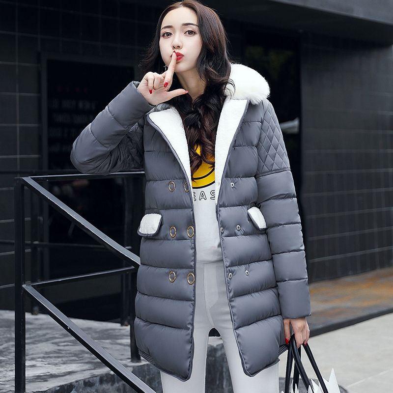 New2017 Fashion Winter Jacket Women Fur Collar Cotton Padded Hooded Thick Warm Parkas Slim Female Outwear 2017 new fashion winter women long jacket parkas hooded fur collar coat slim warm cotton padded thick parkas lady outwear qjw104