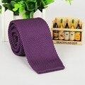 5.5 cm púrpura knitting solid delgado corbatas estrechas gravatas corbata tejida clásica de poliéster de punto flaco corbata tejida 2016 mens
