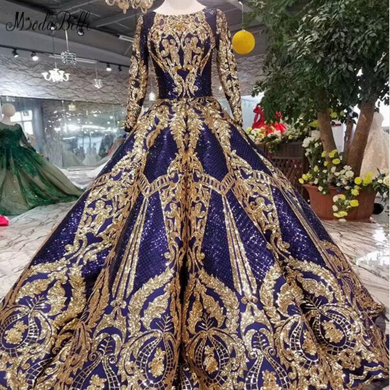 modabelle Saudi Arabia Royal Blue Arabic Dresses Evening Gowns Vestido Azul Long Sleeve Party Dress Vestidos Festa