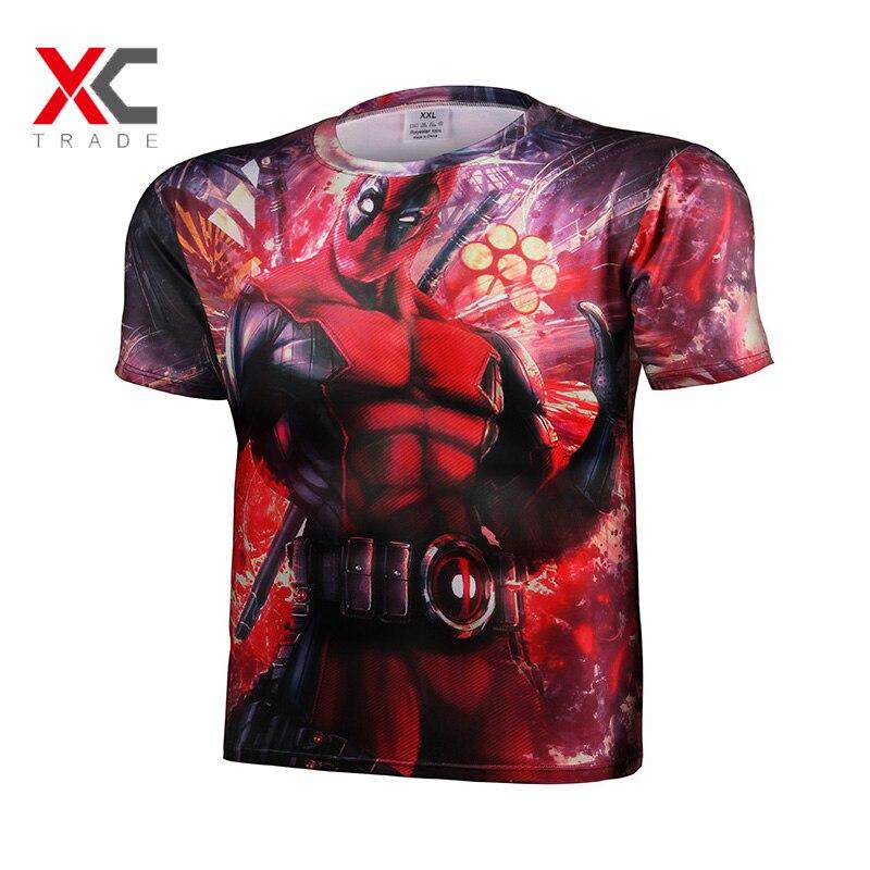 2016 brand clothing deadpool t shirt men american comic badass anime