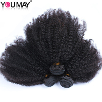 Human Hair Extensions Mongolian Afro Kinky Curly Virgin Hair Hair Weft 3 Bundles You May