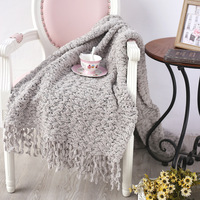 Chenille Solid Color Blanket Sofa with Air Conditioning Christmas Blanket