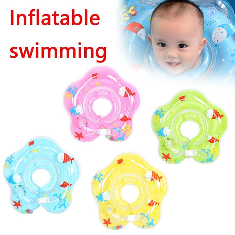 Baby Neck Ring Adjustable Children Cartoon Swimming Ring Thickened Safety Double Airbag Anti-back