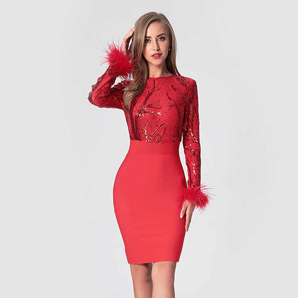 Elegance Feather Sleeve Foil Mini Dress Women Round Neck Shinning Sequined Bodycon Dress Sexy Runway Dresses
