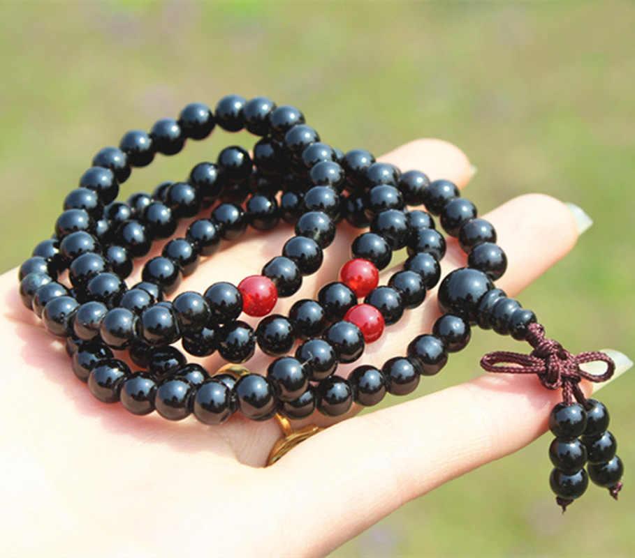 6 мм Тибетский буддизм 108 черная четки Мала ожерелье
