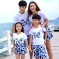 Fashion Summer family matching clothing Blue sunflower girls mother father Boys t shirt + Shorts Pants sets Outfits