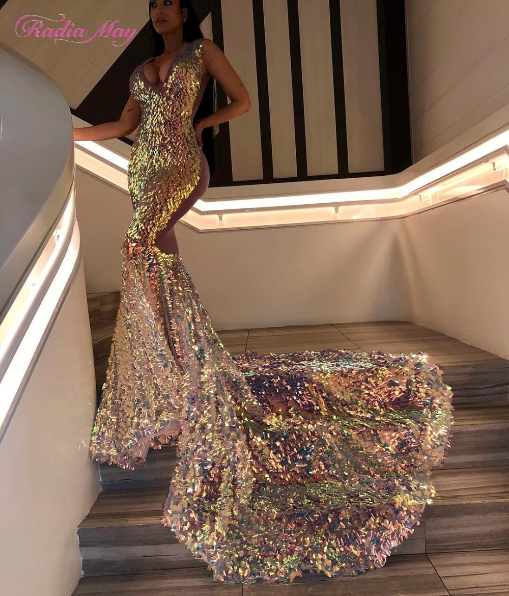 Sparkly Sequined V Neck Mermaid Prom Dresses for Black Girls 2019 Luxury Royal Long Train African