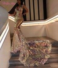 Sparkly Lovertjes V hals Mermaid Prom Dresses Voor Zwarte Meisjes Lange Trein Plus Size Vrouwen Afrikaanse Formele Gowns Afstuderen Jurk