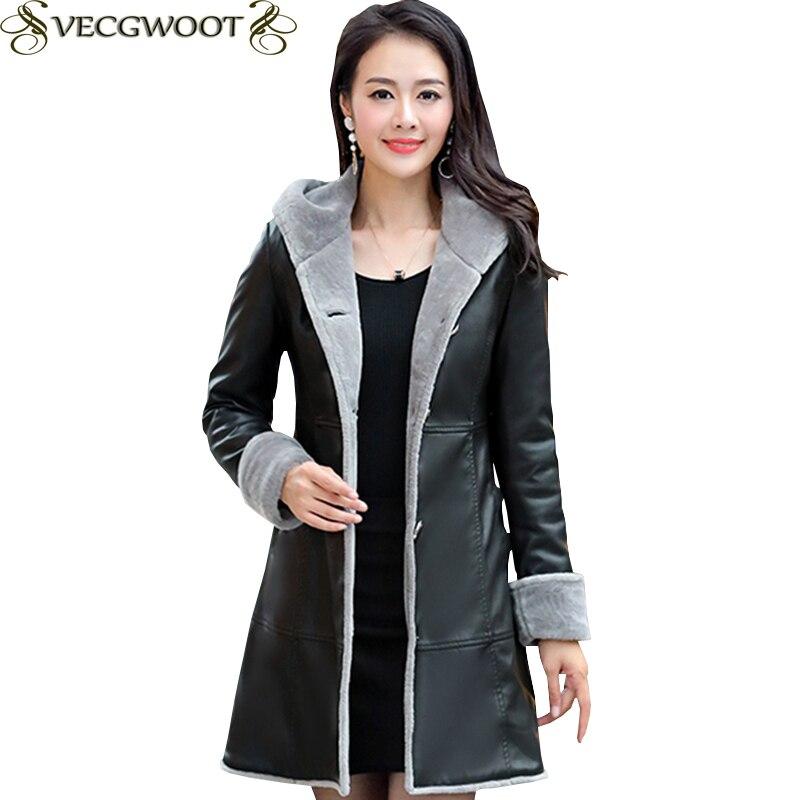 Female Winter New Plus velvet Plus size Leather Coat Women Fashion Slim Long Hooded Leather Women Single breasted Leather X1529 leather jacket