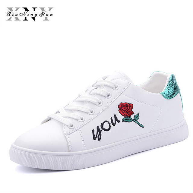 e503a99f0a869 US $22.48 38% OFF|XIUNINGYAN Women Sneakers Ladies Rose White Shoes Walking  Shoes Outdoor Flat Shoe Pearl Leather Casual Flats Sneakers for Woman-in ...