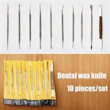 10Pcs Dental Lab Stainless Steel Kit Wax Carving Tool Set Surgical Dentist Sculpture Knife Dental Instrument Teeth Whitening Kit 3pcs set dental instrument dental x ray sensor positioner holder dental digital x ray film locator for dental lab free shipping