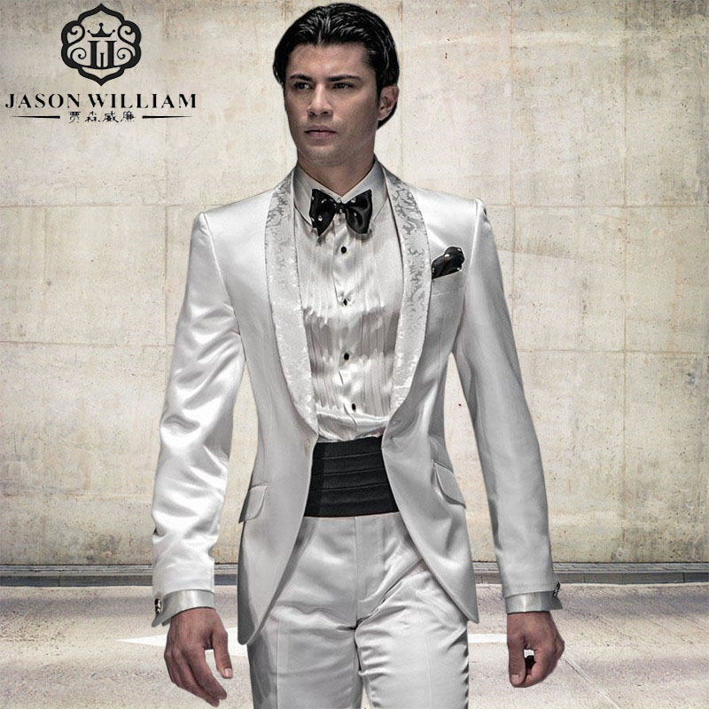 LN092 Arrival Fashion Italian Men Tuxedos White Wedding Suits For ...