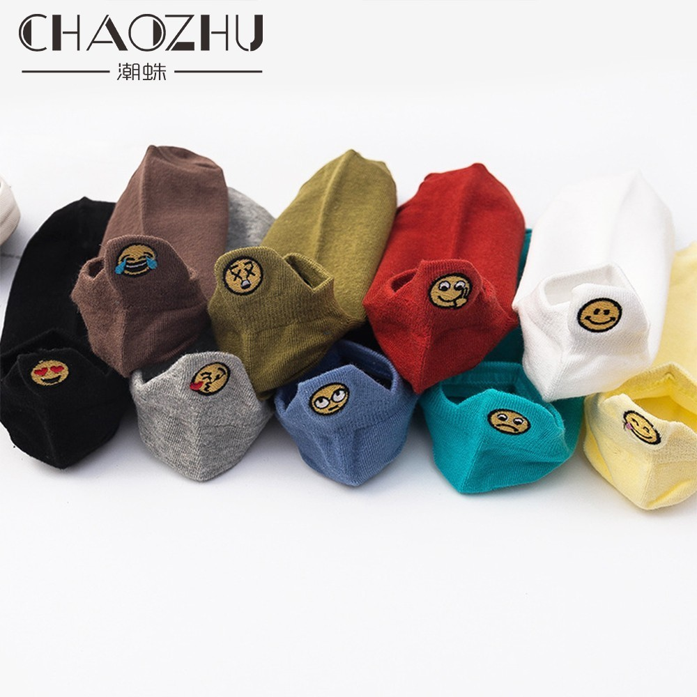 CHAOZHU summer autumn women socks ankle length emoji embroidery funny weekly different mood fashion socks lady girls in Socks from Underwear Sleepwears