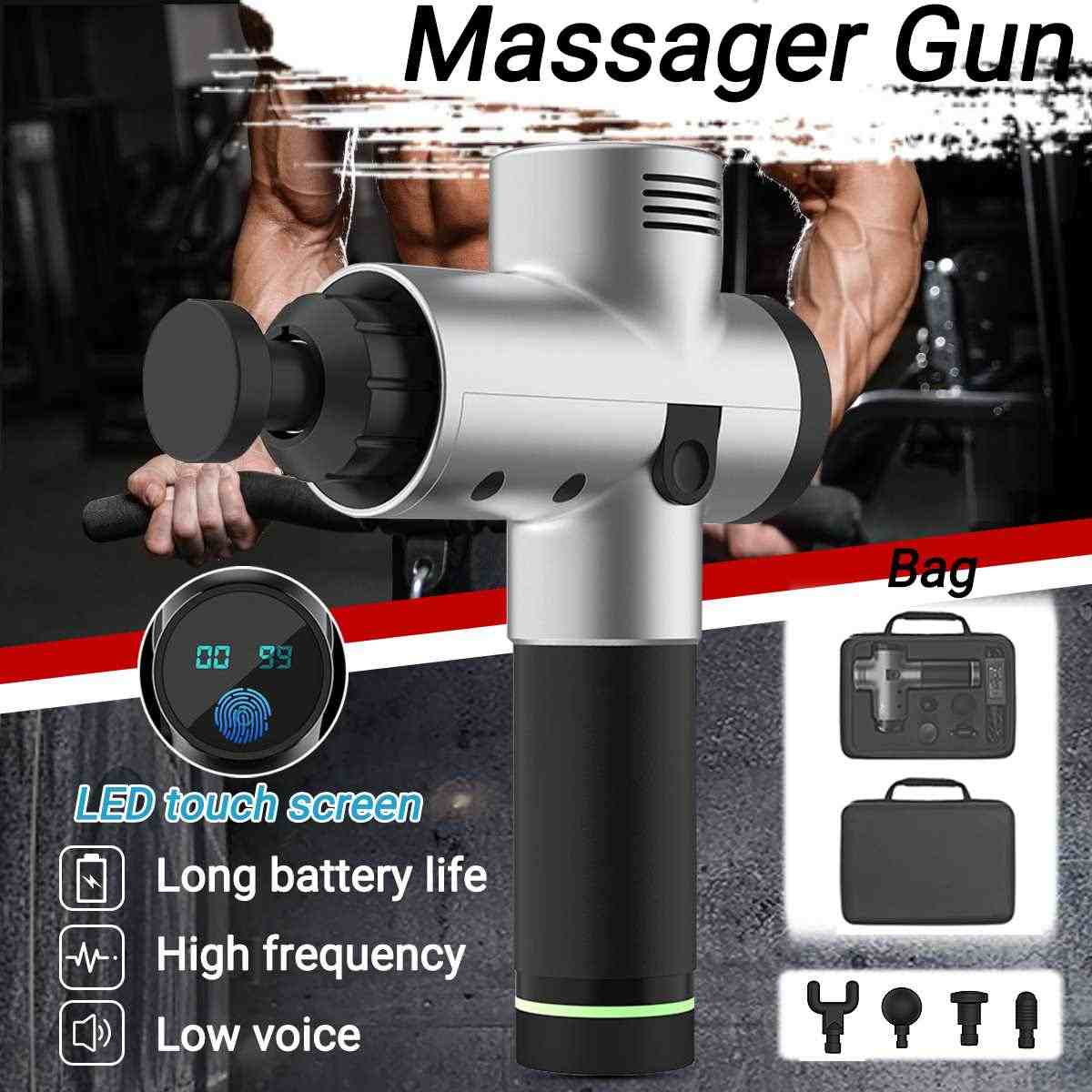 3600r 20 Gears Electronic Therapy Body Massage for Gun Low Noise LED  Massage Guns Body Muscles Relaxing Relief Pains +4 heads