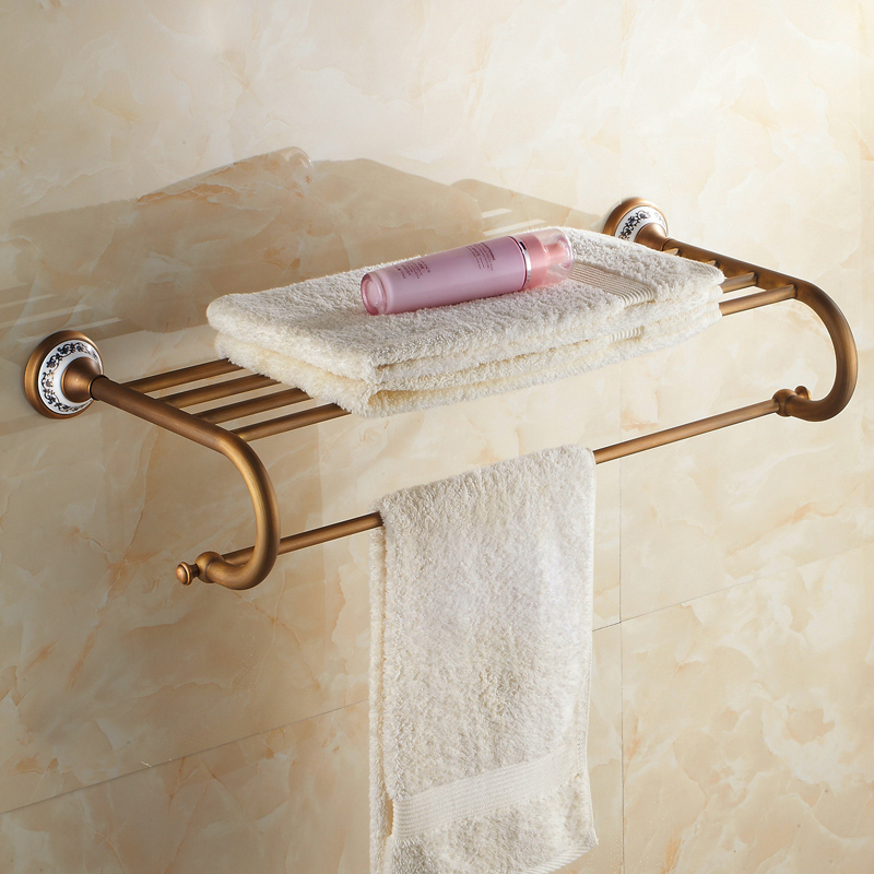High Quality European Style Solid Brass Luxury Antique Brass Bathroom Towel Holder Towel Rack Towel Holder Bathroom Accessories