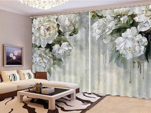 White Gao Jie Peony 3D Flower Curtains, High-Grade Practical Interior Blackout Curtains