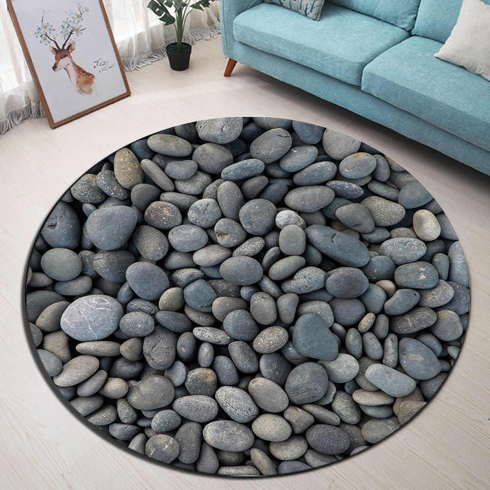 Zen Rustic Pebble Stone Round Memory Foam Area Rug And ...