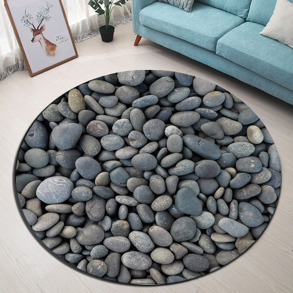 US $12.33 45% OFF|Zen Rustic Pebble Stone Round Memory Foam Area Rug And  Carpet for Kids Baby Home Living Room Nature Bedroom Cushion Bathroom  Mat-in ...