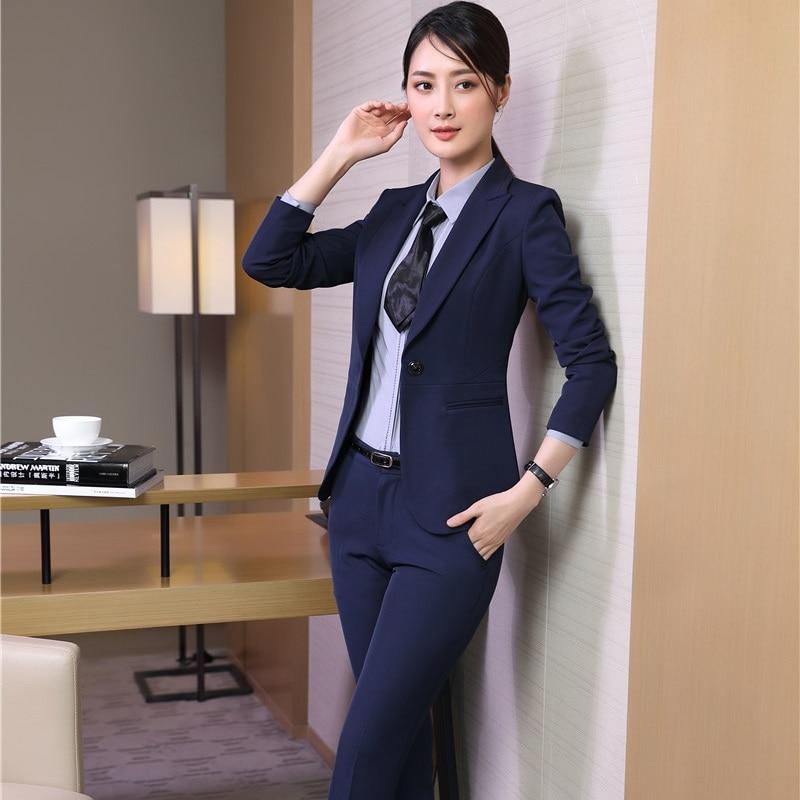 Uniformes Femmes Wear Pantalon D'affaires Costumes Tops Blazers Pantalons amp; Avec black Blue Dark Vestes Work Pour Modèles Femme Nouveauté Pantsuits Et 5zx8nP