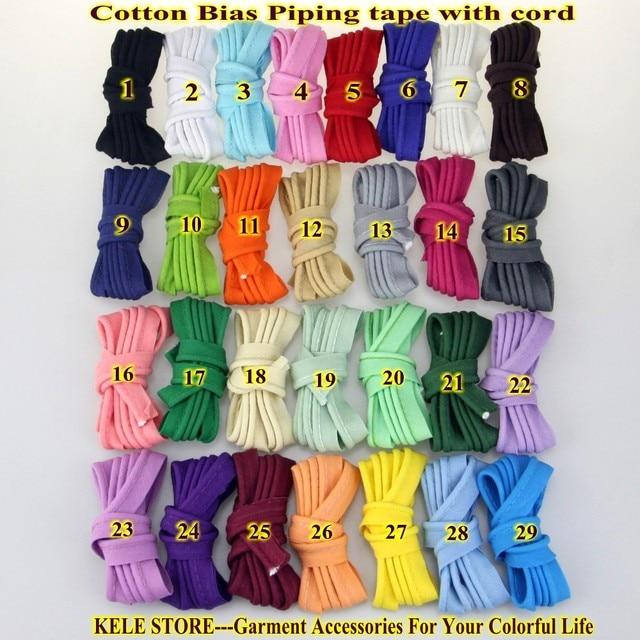Livraison gratuite-100 % coton Biais Tuyauterie, biais tuyauterie bande avec cordon, taille: 12mm, 15yds DIY faisant, à coudre textile de maison couleur unie