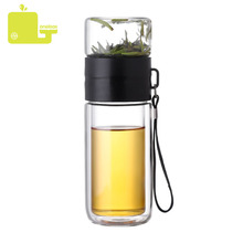 225ML + 125ML Glass Bottle Double Layer Tea Water Separation Glass Bottles Stainless Steel Tea Partition Bottle With Rope все цены