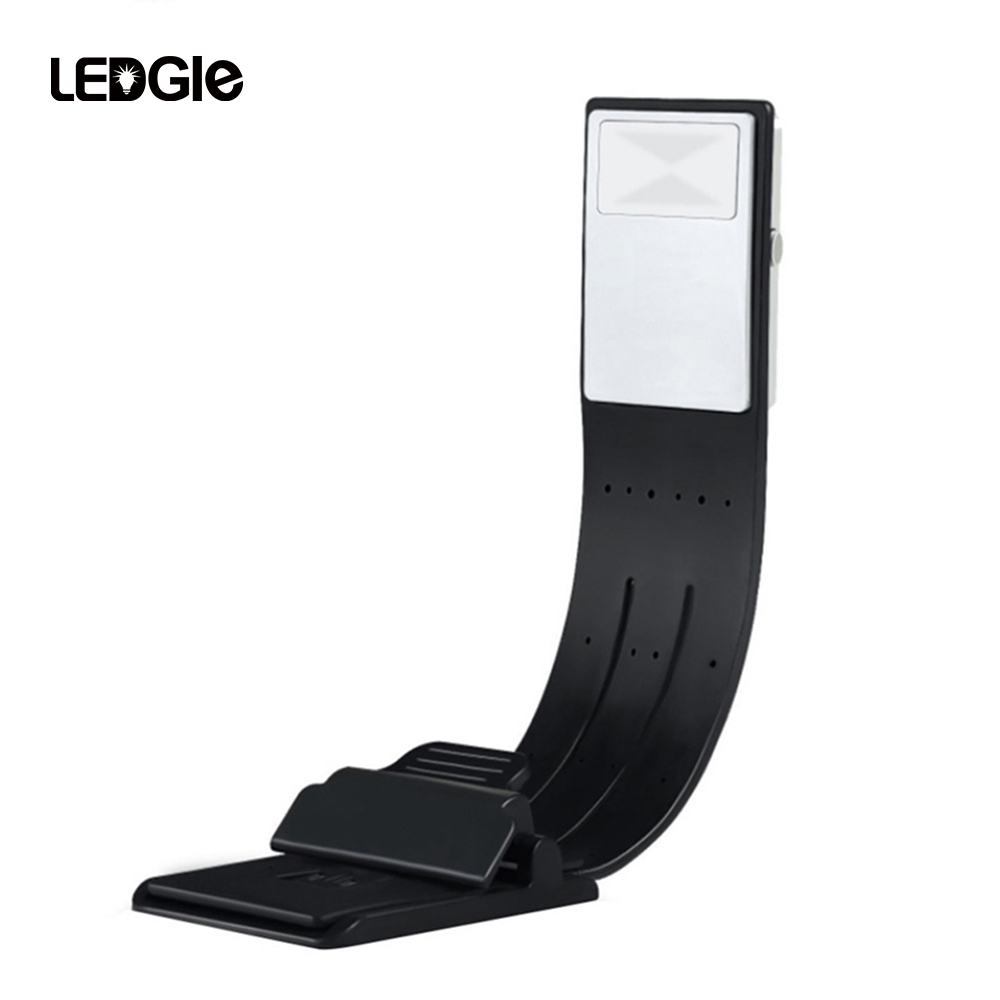 LEDGLE Rechargeable Reading Lamp Compact Book Light Flexible LED Light Clip-on LED Lamp for Kindle and Book 4 Modes Black