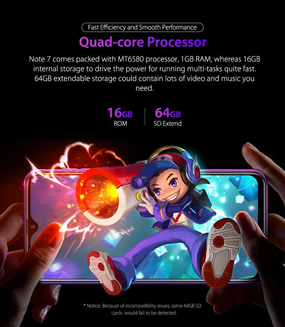 HTB1KBz9RNTpK1RjSZFMq6zG VXa4 Ulefone Note 7 Smartphone 3500mAh 19:9 Quad Core 6.1inch  Waterdrop Screen 16GB ROM Mobile phone WCDMA Cellphone  Android9.0