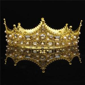 Image 3 - Barokowa królowa król Tiara na wesele biżuteria ślubna Diadem kryształowy bal chluba duże złote tiary i korony panna młoda