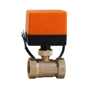 Image 2 - Válvula de esfera de bronze motorizada, válvula elétrica dn15/dn20/dn25 ac 220v 2 way 3 fios com interruptor manual do atuador frete grátis