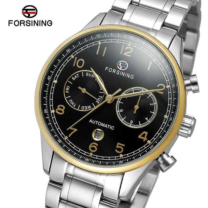 где купить FORSINING Mens Watches Top Brand Business Automatic Mechanical Watch Men Full Steel Sport Waterproof Clocks Relogio Masculino по лучшей цене