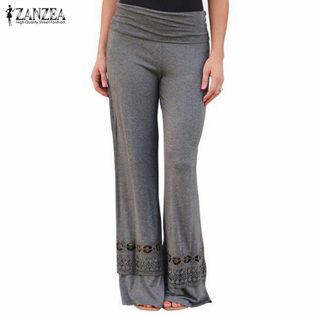 Calças ZANZEA Moda 2016 Mulheres Sexy de Cintura Alta Renda Patchwork Calças Calças Perna Larga Casuais Calças Compridas Soltas Tamanho S-3XL