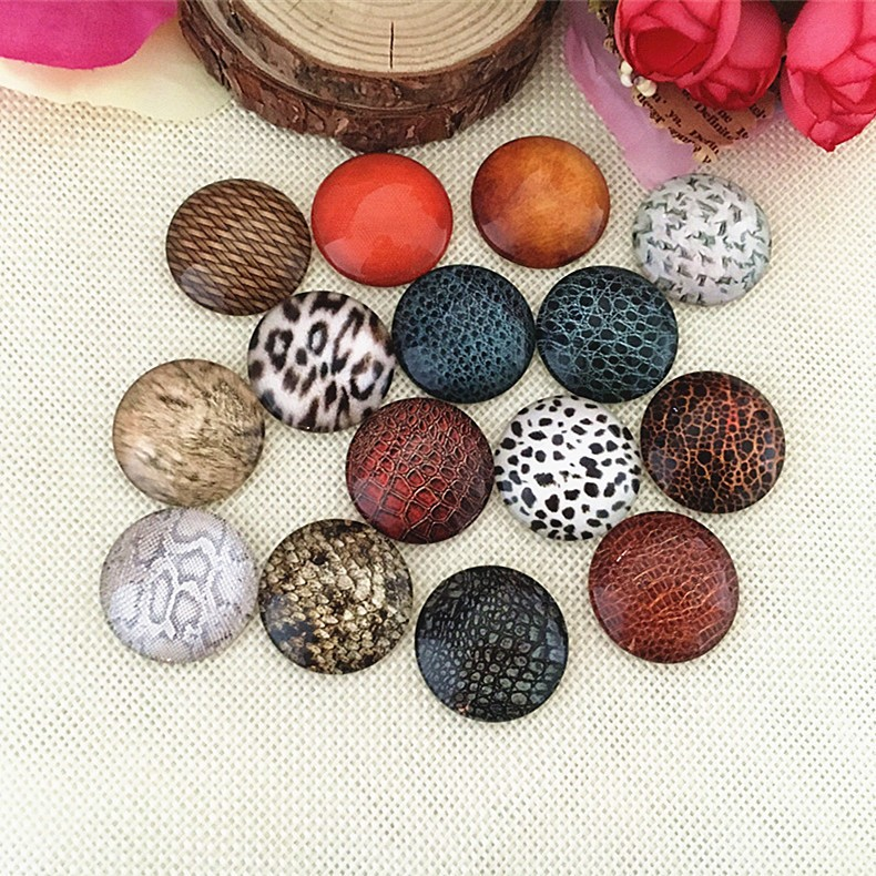 Mix Style Leopard 10mm 12mm 14mm 18mm 20mm 25mm 30mm Photo Round Glass Cabochon Demo Flatback Jewelry DIY Making