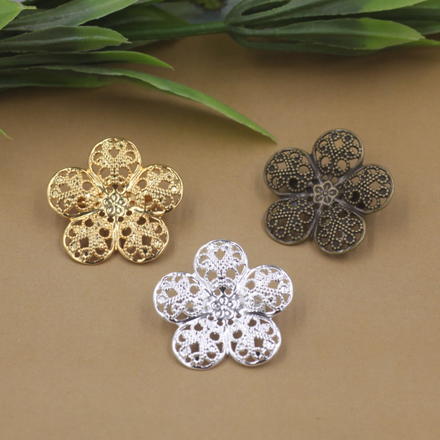 50pcs Lot 35mm flower pedal Brooches Antique Bronze Silver Gold vintage  cabochon pin 4fb7813643f6