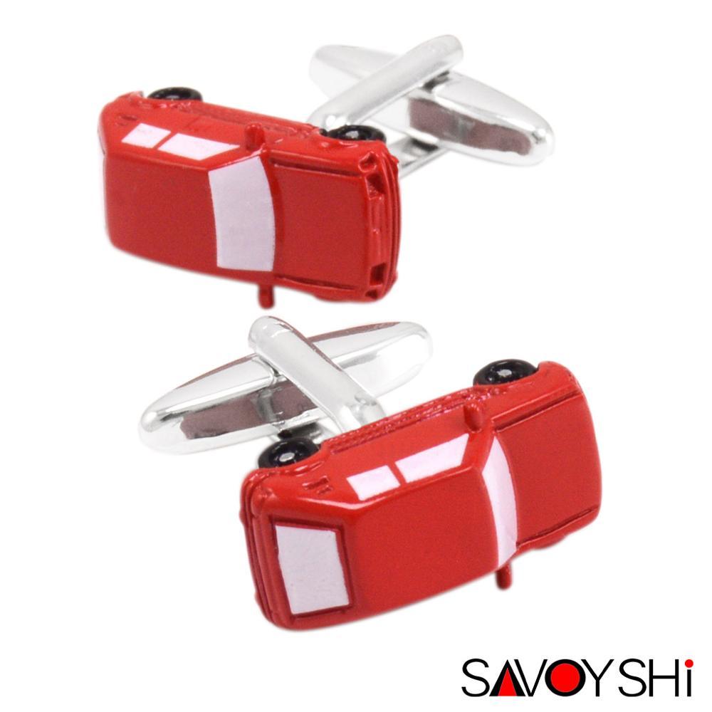 SAVOYSHI Fashion Car Model Cufflinks for Mens Shirt Cuff Accessories High Quality Red Enamel Cufflinks Novelty Brand Men Jewelry