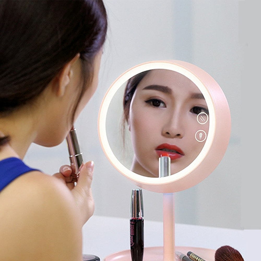 REBUNE USB LED Cosmetic Mirror Dazzle Color Touch Screen LED Lamp Mirror Bedroom Bedside Lamp Colorful Table Lamp Mirror 3 in 1 led makeup mirror with table lamp for bedroom decor table storage cosmetic mirror usb charging rotation white pink color