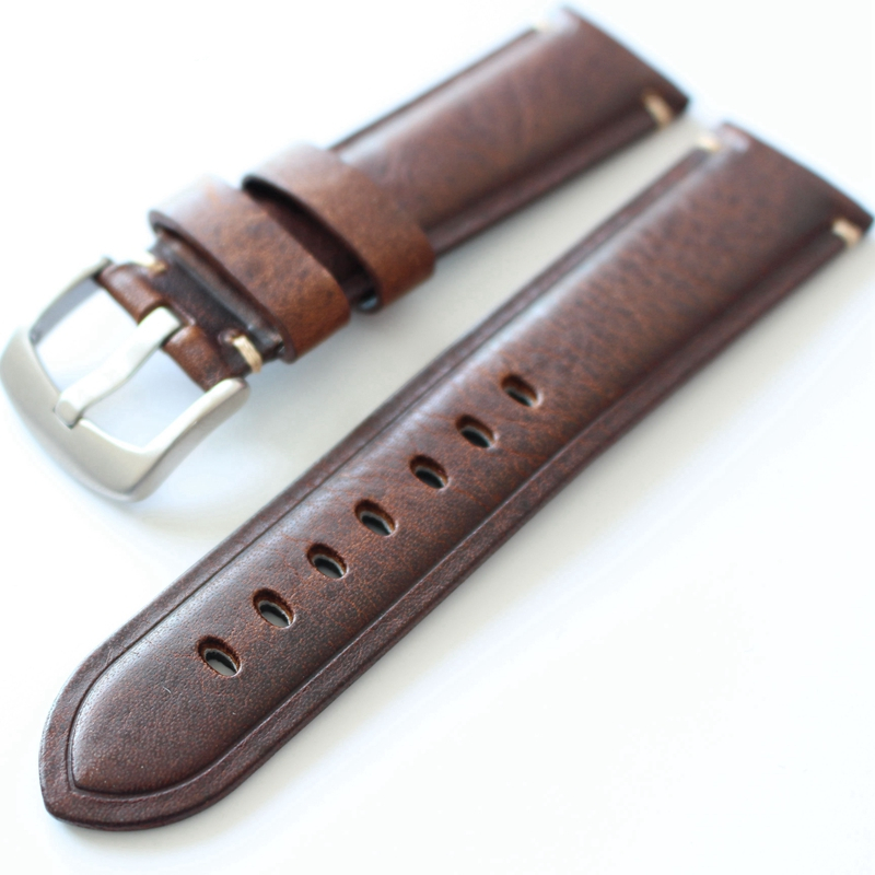 TJP 20mm 22mm Dark Brown Burst Vintage Genuine Leather Strap Bracelet Retro Watch Band with Stainless Steel Buckle Women & Me zte q705u android 4 2 2 quad core wcdma bar phone w 5 7 screen wi fi and gps white