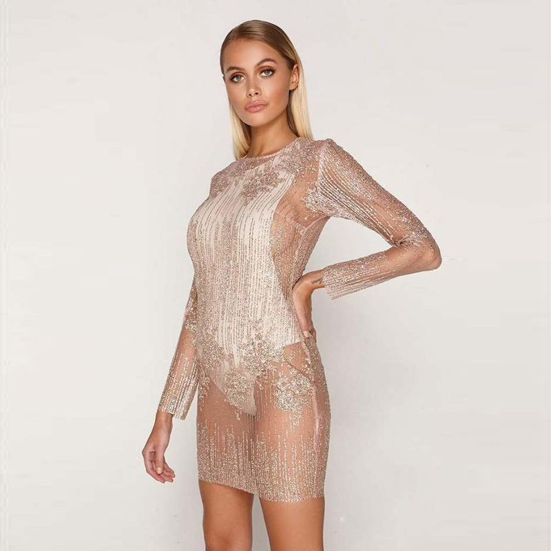 New Stylish Women Sequnis Bodycon See Through Mini Slip Dress Ladies Long Sleeves Clubwear Party Costume