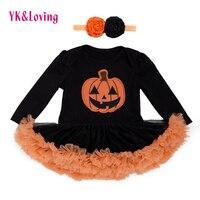 Halloween Baby Costume Girls Rompers Dresses Newborn Pumpkin Black Jumpsuits Dress Infant Cartoon Printed Children Party