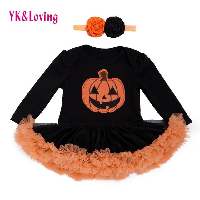 bd046dc2d0e3 Halloween Baby Costume Girls Rompers Dresses Newborn Pumpkin Black  Jumpsuits Dress Infant Cartoon Printed Children Party