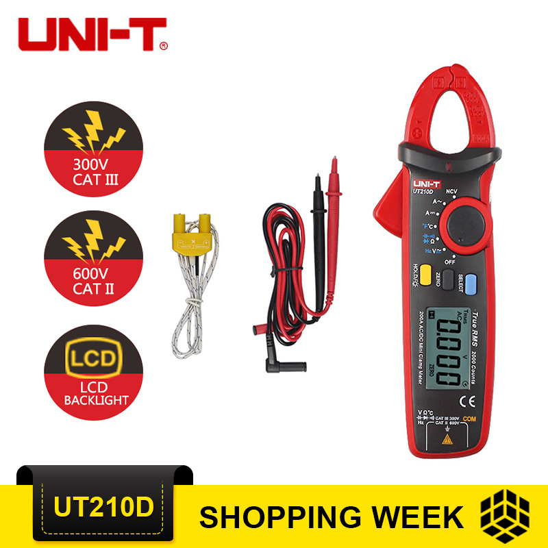 UNI-T UT210D AC/DC Current Voltage Resistance Mini Digital Clamp Meter Multimeter Auto Range Multimeter uni t ut210d digital clamp meter ac dc current voltage meter true rms mini auto range multimetro digital multimeter