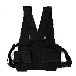 Image 3 - 胸袋ユニバーサルラジオキャリーケース用トランシーバー胸ポケット黒バックパック用ラジオcomunicador用ダブルラジオ