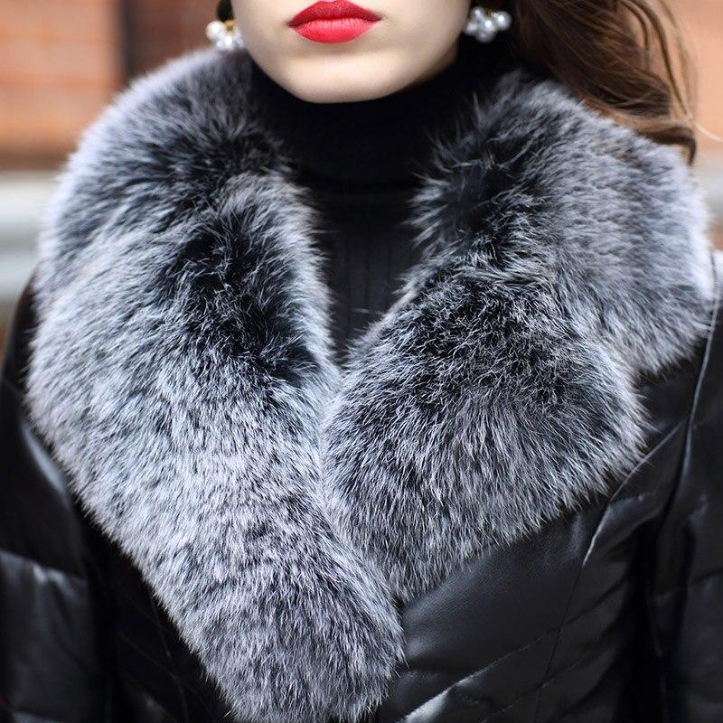Vers Couro Pour Jaqueta Ayunsue Long Cuir Feminina Hiver Manteau Renard Manteaux Femmes 2018 Peau Véritable Noir Fourrure Mouton De Veste Bas Yq1824 Col En Le x11qarRY