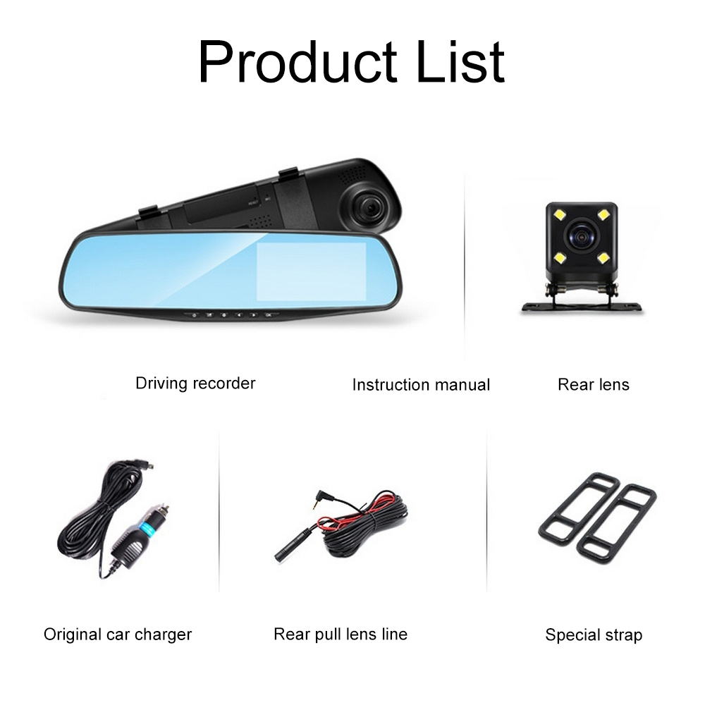 Image 2 - Driving Recorder Car DVR Camera Mirror 4.3 Inch Full HD 1080P 170 ° Wide Angle Dual Lens Reversing Video Recorder Cycle Video-in DVR/Dash Camera from Automobiles & Motorcycles