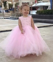 New Pink Cute Baby Ball Gowns Tulle Lace Little Girls Birthday Gown with Big Bow Flower Girl Dress for Wedding Custom Made Longo