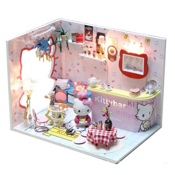 Hello Kitty Кукольный Дом Модель Мебель DIY 3D Puzzle Kit деревянные Соберите Игрушки Голосового Управления Свет Детская Комната украшения