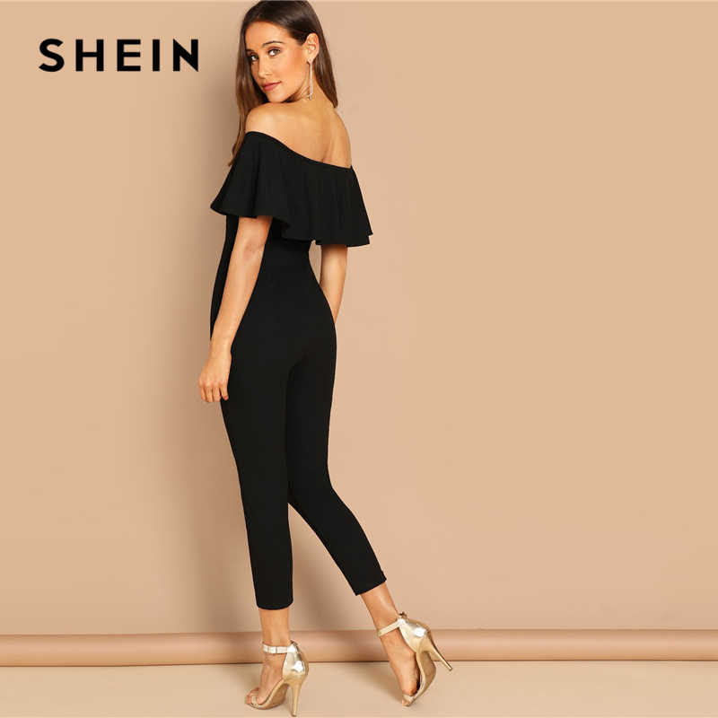 SHEIN negro elegante Oficina señora sólido fuera del hombro manga corta volante ajustado mono otoño ropa de trabajo fuera de las mujeres monos