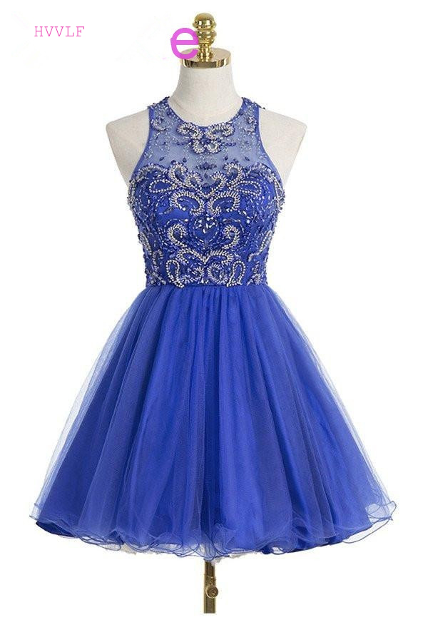 Royal Blue 2019 Homecoming Dresses A-line Short Mini Organza Beaded Crystals Open Back Elegant Cocktail Dresses
