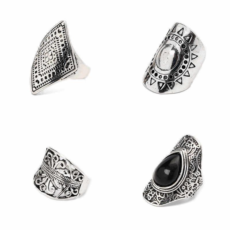 CWEEL แหวน Lucky Sun Silver สี 4 ชิ้น/แพ็ค Vintage สีดำคริสตัล Midi Knuckle แหวนชุดแหวนสำหรับเครื่องประดับสตรีของขวัญปาร์ตี้