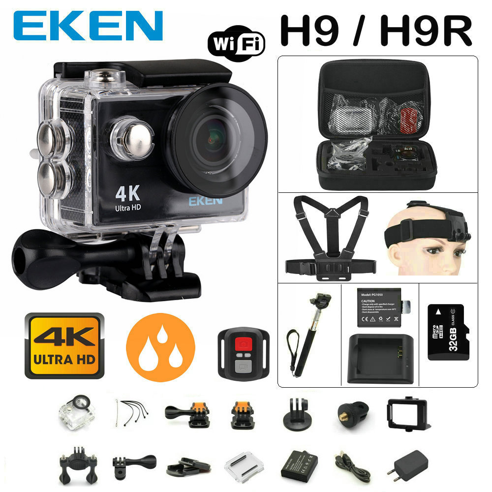 Action camera Original EKEN H9 / H9R remote Ultra FHD 4K WiFi 1080P 60fps 2.0 LCD 170D sport go waterproof pro camera deportiva 100% original eken h9r 4k ultra hd wifi action camera remote control go waterproof camera 2 0 1080p 60fps pro sportcam mini cam