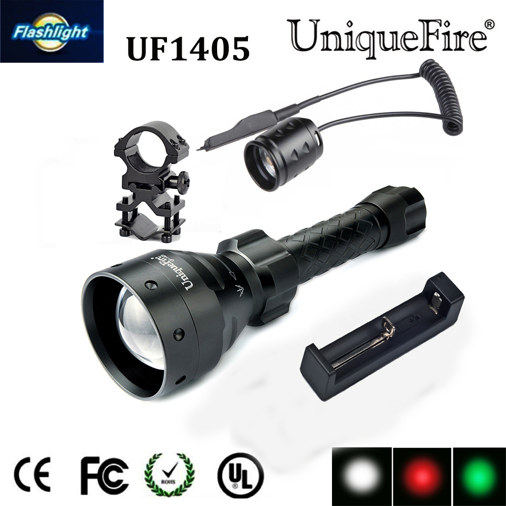 Uniquefore 1405 Flashlight 3 Mode XRE Green / Red / White Light LED Torch+Charger+Rat Tail +Gun Mount 67mm Convex Lens Lampe uniquefire 1503 led flashlight cree xre green red white light led torch 50mm convex lens 3 mode for camping